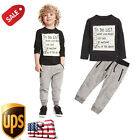 Boys Casual Sport Handsome Baby Toddler Suit (Black Blouse+Gray Casual Pants)