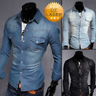 Jeanshemd Herren Hemd Jeans Used-Look Denim Polo Langarm Shirt
