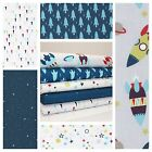 BLAST OFF ROCKETS - SPACE STARS PLANETS BOYS cotton fabric METRE OR BUNDLE