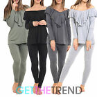 WOMENS OFF SHOULDER FRILL CASUAL LOUNGEWEAR SUIT LADIES NIGHT LOUNGE SET 2 PIECE