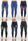 Ladies Womens Jeggings Embroidered Badge Skinny Jeans Trousers Stretchy Pants