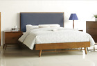 Bayern Hardwood Queen Size Bed - Retro Style with Fabric Bedhead Upholstery- New