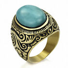 Mens Large Natural Oval Turquoise Gemstone Gold Stainless Steel Ring