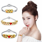 Emoji Style Charm 18k Gold Plated Bracelet Bead Silver Jewelry Gift For Kids