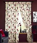 ROSEMONT FLORAL TAPE TOP LINED CURTAINS READY MADE PENCIL PLEAT PAIRS RED CREAM