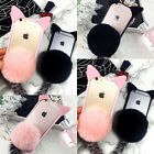 """Cute Cat Ear Fur Tail Ball Clear Case Cover For iPhone 4.7"""" 5.5"""" 6 6S 7 7Plus"""