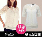 New M&Co Ivory Floral Lace Mesh Vintage Blouse With Cami Layer RRP 32