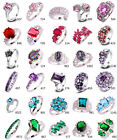 Pink Ruby Spinel Purple Blue Green Gemston Sliver Rings Size 6 7 8 9 10 11 12 13