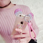 3D Cute Bling Diamond Mouse Soft Strap Back  Phone Case with Metal Ring Stand