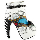 Punk Black White Snake Skin Effect High-top Bone High Heel Platform Ankle Boots
