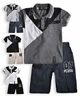 Boys Top And Short Outfit New Kids Short Sleeved Polo Shirt Set Ages 2-14 Years