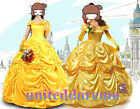 US SELLER dult Beauty and the Beast Belle Princess Yellow Dress Cosplay Costume