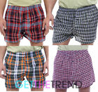 3,6,9,12 Pack Mens Woven Check Boxer Multipack Loose Cotton Trunks Shorts New