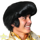 BLACK QUIFF WIG ELVIS PRESLEY 1960'S 70'S ROCK POP  STAR FANCY DRESS ROCK N ROLL