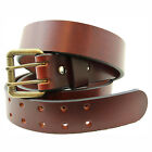 Made in USA 1 1/2 Chestnut Show Harness Leather Belt With Double Hole