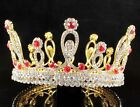 FANCY QUEEN RED AUSTRIAN CRYSTAL RHINESTONE TIARA CROWN PAGEANT WED GOLD C2317