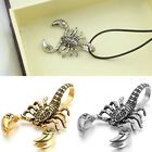 Vintage Mens Antique Silver Gothic Cool Scorpion Pendant Leather Chain Necklace