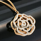 A3-P444 Rhinestone Hollow Gold Rose Flower Necklace Pendant 18KGP Crystal