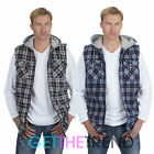 Mens Lumberjack Padded Gilet Flannel Check Hooded Sleeveless Bodywarmer Top Work