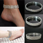 Diamante Stretchy 3/4/5 Rows Anklet Ankle Foot Chain Bling Rhinestones Silver