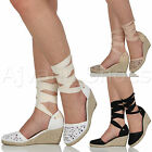 WOMENS LADIES MID WEDGE HEEL SUMMER CUT OUT TIE UP ESPADRILLES SANDALS SIZE