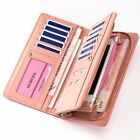 (5 colors) Womens Zip-around Two Fold ID Wallet Money Clip Purse Organizer