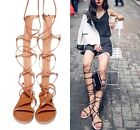 Womens Flat Open Toe Sandal Gladiator Knee High Boot Strappy Roma Lace Up Shoes