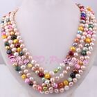 "7-8x8-9mm Natural Freshwater Pearl Beads Freeform Stone Necklace 45"" Not Button"