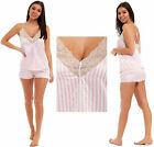 Ladies Satin Pyjamas Cami Vest Short Lace Summer PJ's Pink White Striped Candy