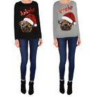 Womens Sequin Novelty Christmas HOHOHO Santa Pug Pullover Jumpers Sweater