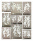 OFF WHITE GUIPURE LACE APPLIQUES WITH CLEAR RHINESTONES/PEARLS *10 STYLES*