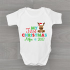 My First 1st Christmas Xmas Rudolph Personalised Year Baby Grow Body Suit Unisex
