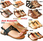 New Womens Gladiator Sandals Thong Flip Flops T Strap Flat Strappy Toe Shoes