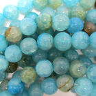 """Blue Crab Fire Agate Round Beads Gemstone 14.5"""" Strand 4mm 6mm 8mm 10mm 12mm"""