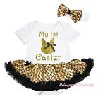 My 1ST EASTER Bunny Bow White Bodysuit Bling Gold Fish Scale Baby Dress NB-18M