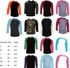 New Long Sleeve Raglan Baseball Mens Plain Tee Jersey Team Sports T-Shirt S-3XL