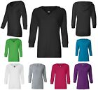 LADIES LIGHTWEIGHT, 3/4 SLEEVE, V-NECK, HOODED, T-SHIRT / UNLINED HOODIE, S-2XL