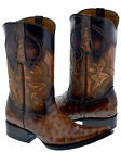 Mens Cognac Rust Brown Ostrich Design Western Leather Cowboy Boots Pointed Toe