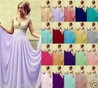 Long V-neck Chiffon Evening Formal Party Ball Gown Prom Bridesmaid Dress Wedding