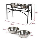 Double Elevated Raised Dog Puppy Feeder Bowl Stainless Steel Food Water Stand US