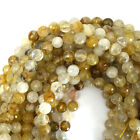 "Faceted Yellow Rutilated Quartz Round Beads 15"" strand 4mm 6mm 8mm 10mm 12mm"