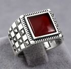 Checkered Design Red Ruby Marcasite Stone 925 Sterling Silver Men's Ring Turkish