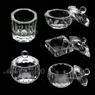 4 TYPE CLEAR CRYSTAL GLASS DAPPEN DISH +  LID BOWL CUP NAIL ART TOOLS CHOOSE