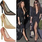 Womens Ladies High Heel Pointed Mesh Court Smart Party Work Pumps Shoes Size New