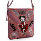 Betty Boop embroidered pink cross-body messenger bag red gown studs rhinestones $27.29 USD