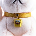 Yellow PU Leather Pet Dog Cat Puppy Bling Collars with The Cartoon Bell New