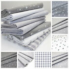CHAMBRAY COTTON FABRIC - GREY - SWALLOWS BIRDS STARS STRIPES GINGHAM