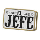 Buckle Rage Adult Mens El Jefe The Boss Chief Man Rounded Rectangle Belt Buckle