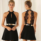 Women Casual Summer Cocktail Party Evening Backless Lace Short Mini Dress BBUS