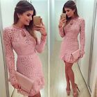 US Women Bodycon Long Sleeve Hollow Lace Skater Prom Formal Cocktail Party Dress